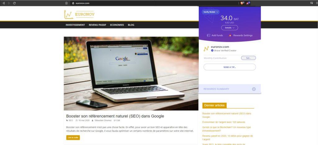 Brave permet de récompenser les sites internet de qualité en faisant un don immédiat ou tous les mois.
