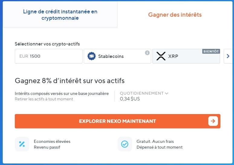 Nexo.io - Une banque qui offre 8% de taux d'intérêts